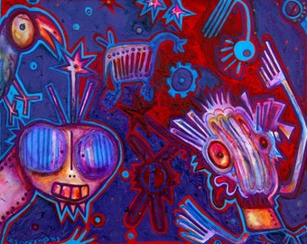 """You Said What - 10""""x8 ART Print, bird creatures are conversing back and forth, purple, wall art, fantasy characters, art"""