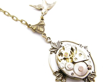 Steampunk Brass Sparrow Floating Leaf Necklace