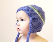 baby earflap hat and knit boutique photo prop, 9 to 18 months - purple amethyst striped, ready to ship