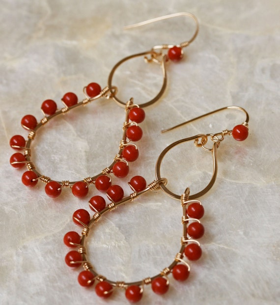 Coral Earrings, Coral Jewelry, Gold Hoop Earrings, Chandelier Earrings, Hammered Gold Earrings, Long Gold Earrings, Red Stone Earrings