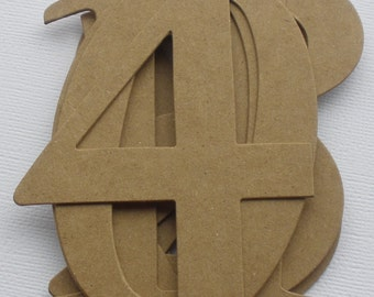 "4"" ELEGANT NUMBERS - Natural Chipboard Die Cuts -- 4"" Tall - Wedding Table Numbers"