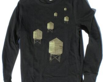 Water Towers Thermal Tshirt Long Sleeved in Black