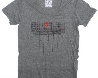 Red Hook Unisex V-Neck T-Shirt in Heather Grey, Brooklyn Industrial Sign