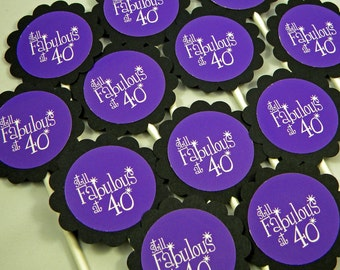 40th Birthday Cupcake Toppers - Still Fabulous at 40, Purple and Black, Set of 12
