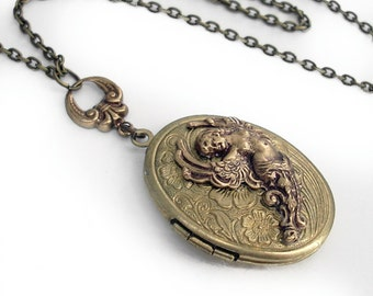 Etched Bronze Locket Necklace Jewelry - Goddess of Everything