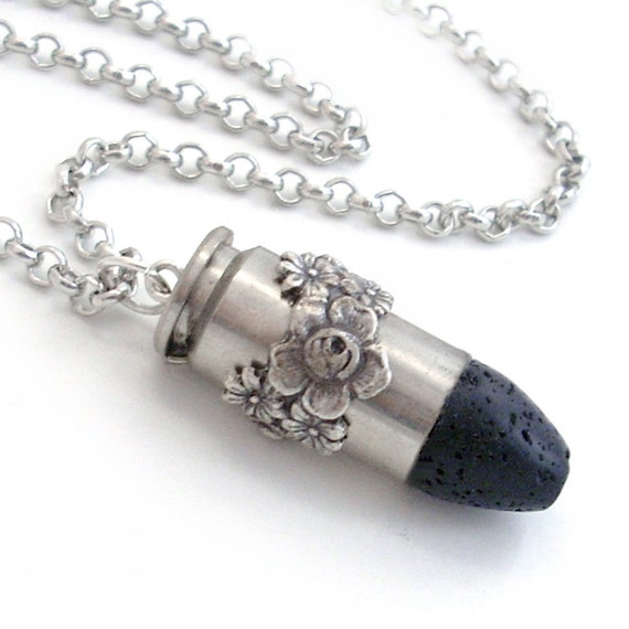 Bullet Necklace Upcycled  Jewellery Cowgirl Jewelry - Black Lava Rock