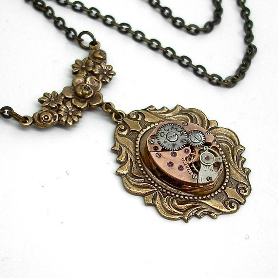 Steampunk Necklace Handmade Jewelry - Take Some Time - Steampunk Pendant