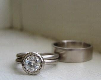 White Gold Wedding Ring Set Ladies Engagement Peekaboo Bezel Moissanite Solitaire