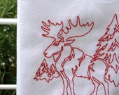 MAINEly Moose - Embroidered Cotton Kitchen Towel - Red