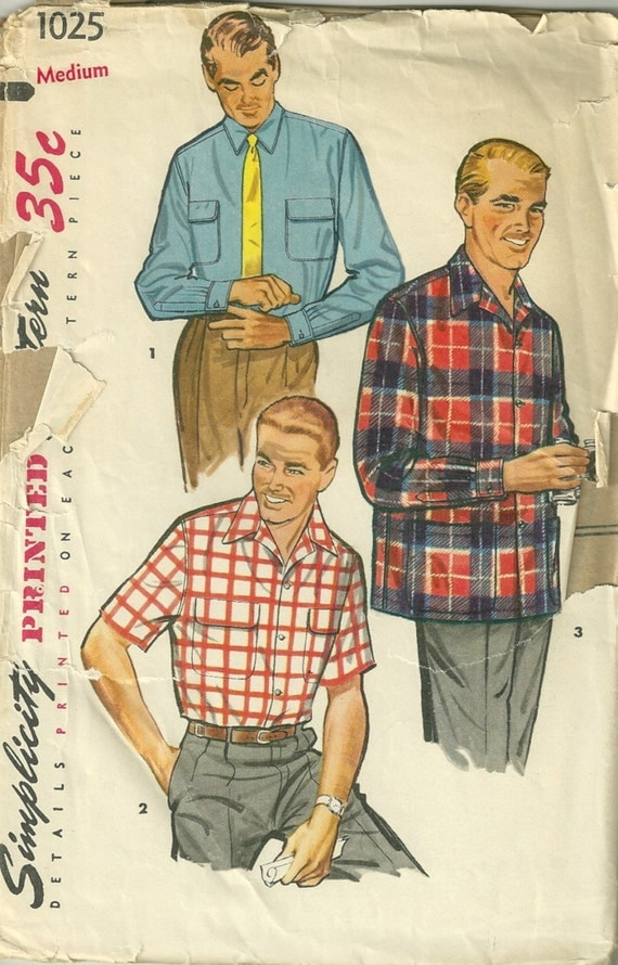 Simplicity 1025 1950s MENS Comfortable Sport SHIRT Pattern Mans Vintage Sewing Pattern Size Medium Chest 38 40  Neck 15 - 15 1/2 UNCUT