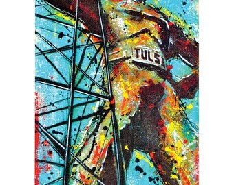 Tulsa's  Golden Driller - 12 x 18 High Quality Pop Art Print
