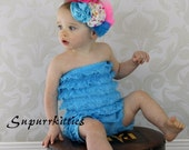 Hot Pink/Turquoise Baby Flower Headband - Polka dot Rosette Baby Headband - Toddler/Girl Feather Headband  - Pageant/Photo Prop