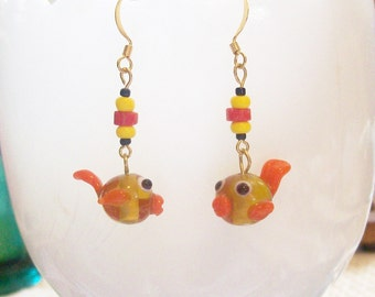 FISH KISS Goldfish Dangle Earrings -Fun Whimsical Pet Jewlery for Fishy Lovers