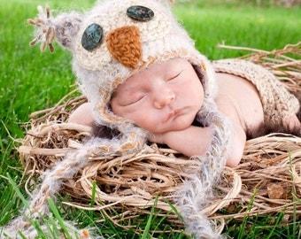 Baby OWL Hat & Diaper Cover Set Newborn 0 3m  Fuzzy Tan Soft Photo Prop Custom Made Baby Boy Girls Gender Neutral Super Soft All Seasons