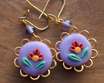 Dangle Earrings, Purple, Shabby Chic Lavender Flowers, Lilac, Gift for Her, Gift from the Heart, Handmade Jewelry, Polymer Clay Flower, OOAK