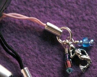 MERMAID Nautical Cell Phone Charm With Sterling Silver Mermaid, Swarovski Crystals & Czech Glass On Pink Corded Strap -On Sale-