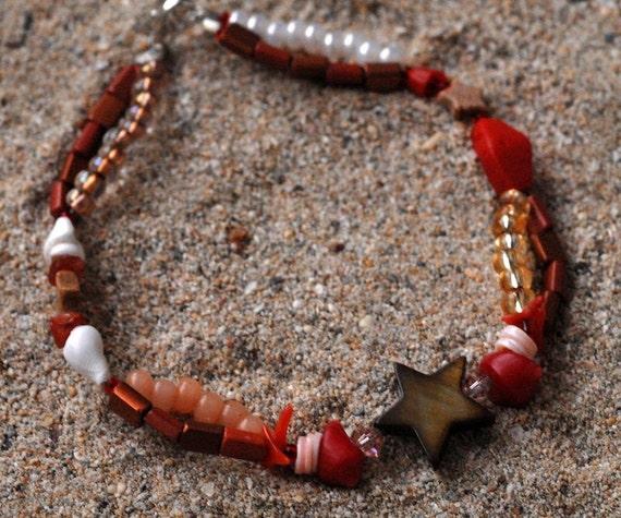 STARFISH Woven Bracelet Beaded In Seashells, Jasper, Carnelian, Red Branch Coral, Sterling Silver, Swarovski Crystals, Double-Stranded OOAK