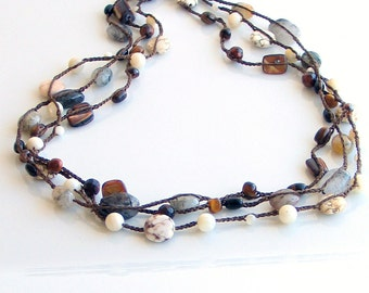 Crocheted Silk with Stones Necklace or Wrap Cuff Bracelet Neutral Earthy Colors, Long Silk Chain, Gift for her