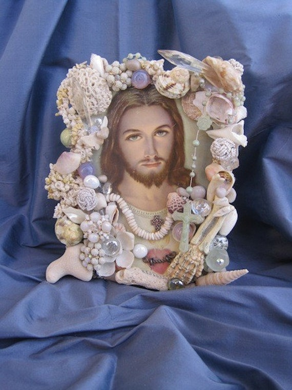 Sacred Heart of Jesus FRAME Fantastic Crystals and Shells Vintage Assemblage Religious Art Treasures from the Sea Collage One of a Kind OOAK