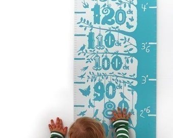 Height Chart, Grow (Height Growth Chart), Illustrated Height Chart, Illustrated Number Wall Poster, Kids Height Chart, Kids Wall Chart