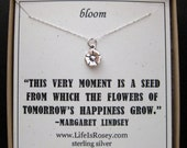 Flower Necklace - Gardening Gifts - First Period Gift - Graduation Gift - Wedding Gift - Sterling Silver Quote Card Necklace
