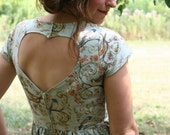 Heart cut out dress- Woodland blue bird- Women's Fashion handmade mint birds dress