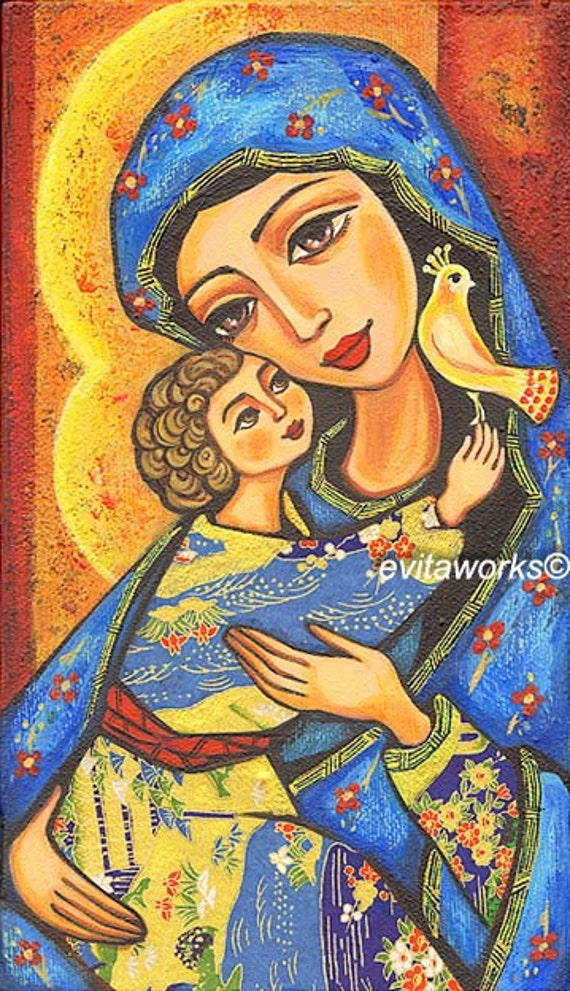 Folk Art Icon, Religious Painting, Mary and Jesus, Virgin Mary, Mothers Love, Christian Art, Mother and Child, Wall Decor - Art Print