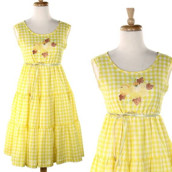 1970s Yellow Gingham Dress - Vintage Sunshine Afternoon - child or teen size