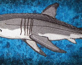"Awesome Great White Shark ""Carcharodon carcharias""  Iron on Patch ready to ship"