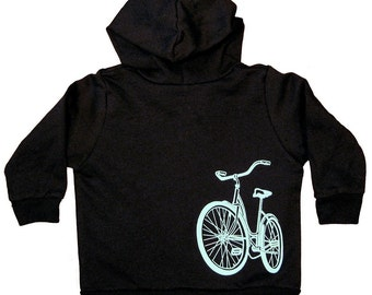 Baby Bike Shirt, toddler hooded sweatshirt, Black Sweatshirt, long sleeve zipper hoodie, baby toddler gift, baby boy gift, birthday gift