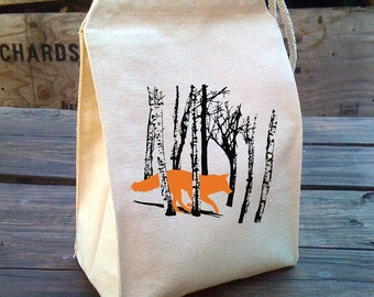 Lunch Bag, Fox lunch bag, Fox Eco Lunch Sack with WOLF design, Cloth lunch bags reusable washable Recycled Cotton Canvas Lunch Bag Handle