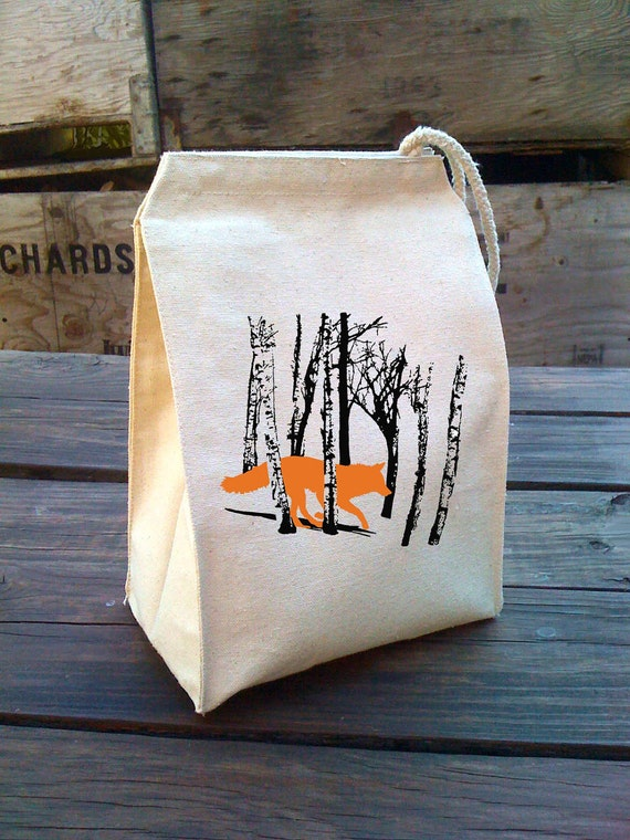 Eco Lunch Sack with FOX / WOLF (running in the woods) design, Recycled Cotton Canvas Lunch Bag with Handle