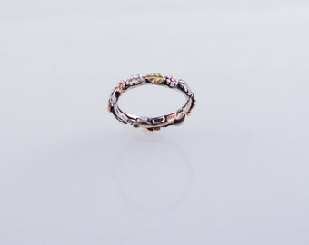 Eco Wedding Band - in recycled silver and 14K & 18K gold