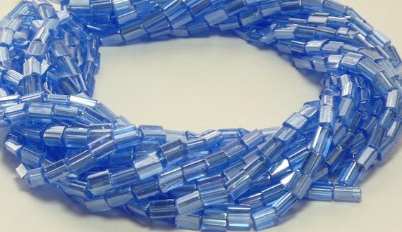 5x3mm Transparent Sapphire Luster Czech Glass Baby Pillow Bead Strand (AW111)