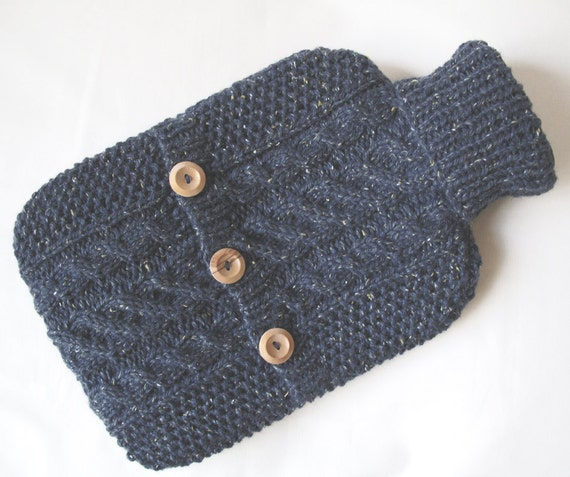 Rustic slate blue hot water bottle cover / sweater - by ACrookedSixpence - READY TO SHIP