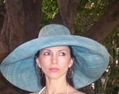Linen Straw Wide Brim  Sun Hat