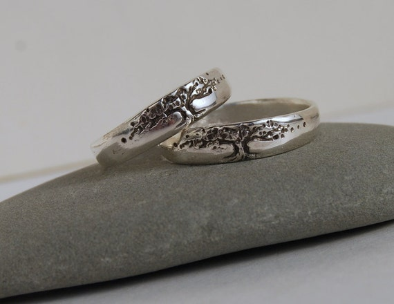 Tree of life bands Set Sterling silver, 5mm WIDE wedding band women's men's wedding