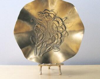 golden brass brides bowl repousse pansies fluted edge