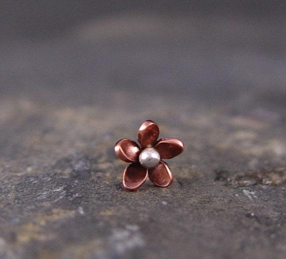 Tragus Plumeria Copper Flower Earring, 5-6mm, Hawaiian flower, body piercing