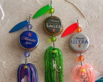 Unique Christmas Gift for Him Stocking Stuffer Gift for Man Bottle Cap Fishing Lure 3pk Gift for Husband Christmas Gift for Boyfriend