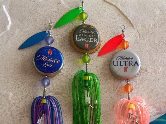 Wedding Favor Mens Groomsman Bestman Gift for Men 3pk.-The Original Spinning Bottle Cap Fishing Lures
