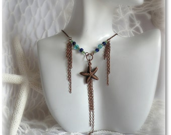 Gem Of The Sea - Mermaid Starfish Antique Copper Beaded Necklace