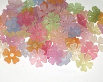 40 Acrylic Heart Petal Flower Beads - Spring Garden - 16mm