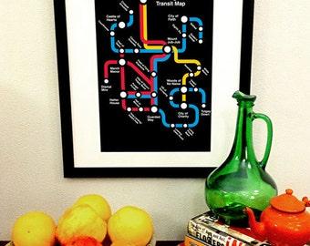 Wonderland Metro Map Art Print -- 11x17