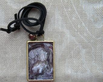 Buddha Necklace, Miniature Art Buddha Pendant, Wearable Art, Buddha Jewelry, Necklace with Pearl, Buddha Art Jewelry, June Birthstone