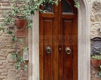 Matted Photography, Italian Art Door Print, European Photography, Tuscany Italy Wood Doors Photo, Italian Photography, Travel Photography