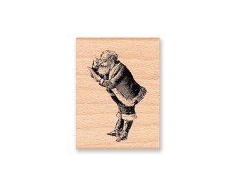 Santa Stamp~Santa Claus Rubber Stamp~Santa Checking List~Christmas Holiday Stamp~Card Making Holiday Crafting~Mountainside Crafts (16-06)