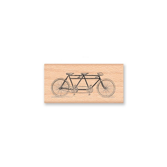 RUBBER STAMP,Tandem Bicycle, bike for two,vintage,save the date,wedding invitation,anniversary stamp,mountainsidecrafts (15-23)