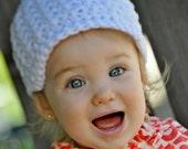 Little Girls Hats, Crochet White Newsboy Hat, Infant Girl Beanie, Soft-Brimmed Visor, MADE TO ORDER