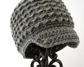 Crochet Newsboy Hat for Women, Teen Crochet Beanie with Visor, Women's Hat, Gray, MADE TO ORDER